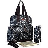 Zacoro 4 Pieces Set Diaper Bag Baby Backpack Diaper Bag Tote Bag Mom Bag Large Capacity(black)