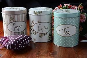 Creative Tops Katie Alice Cottage Flower Coffee,Tea, Sugar Storage Tins, Set of 3