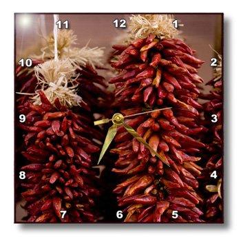 Dpp_92933_2 Danita Delimont - Markets - New Mexico, Santa Fe, Strings Of Chili Peppers, Market - Us32 Rca0025 - Rob Casey - Wall Clocks - 13X13 Wall Clock
