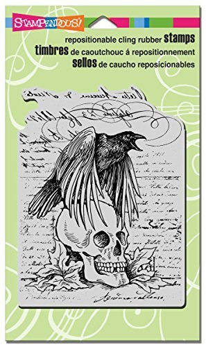 Stampendous Rubber Cling Stamp 4-inch x 6-inch, Raven Skull by Stampendous