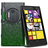 ONX3 Nokia Lumia 1020 3D Design Raindrop Green Hard Back Piece Cover Case + Green Retractable Touchscreen Stylus Pen + LCD Screen Protector Guard