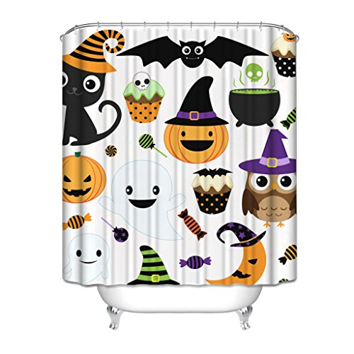 HGOD Designs Gift for Halloween, Halloween Party Decor Colletion Cat Pumpkin Ice Cream Bat Sugar Moon Owl And Ghost Waterproof Polyester Shower Curtain 66 * 72 with (Halloween Party Designs)