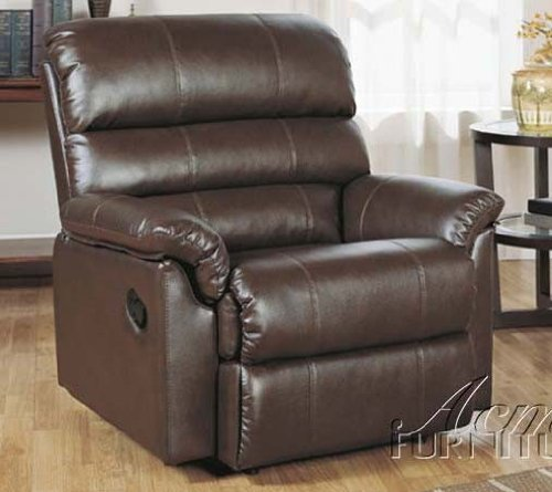 recliner sofa chair in chocolate bonded leather