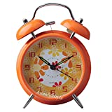 "AsianLifeStyle 4"" Silent Quartz Analog Twin Bell Alarm Clock With Nightlight and Loud Alarm (Orange)"