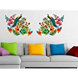 StickersKart Wall Stickers Peacock Birds On Colourful Branch Leaves Wall Design Sofa Background Vinyl (Wall Covering...