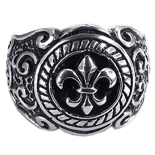 KONOV Vintage Stainless Steel Knight Fleur De Lis Men's Ring, Color Black Silver - Size 10 (Men Fleur De Lis Ring compare prices)