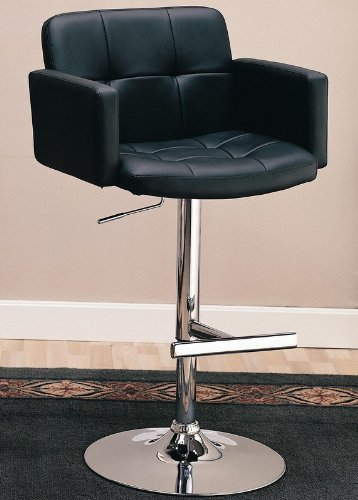Coaster Adjustable Bar Stool with Arms in Black Faux Leather