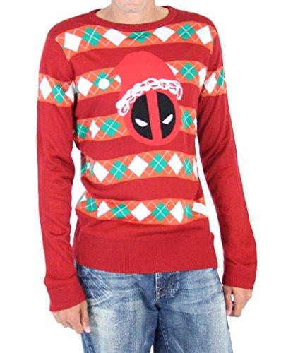 Marvel Deadpool Santa Hat Stripes Adult Red Ugly Christmas Sweater (Adult Medium)