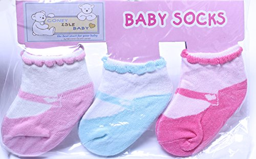 Coney Island Newborn Baby Girls Mary Janes Socks Set Of 3 back-46545