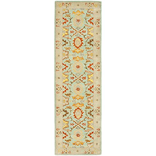 Safavieh Heritage Collection HG734A Handmade Light Blue and Ivory Wool Runner, 2 feet 6 inches by 6 feet (2'6