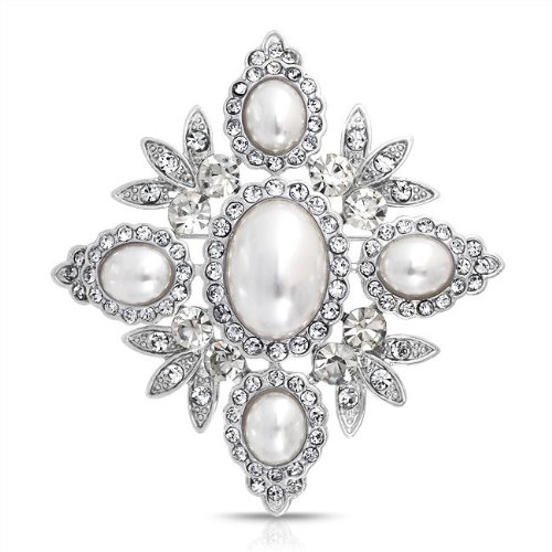 Bling Jewelry Vintage Crystal Leaf White Pearl