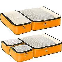 eBags Ultralight Packing Cubes - Super Packer 5pc Set (OrangeYellow)