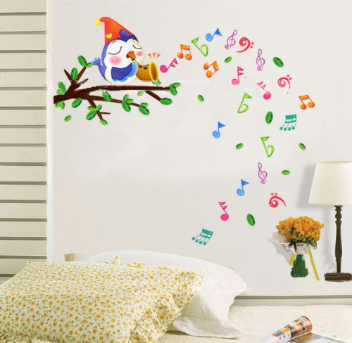 Ufingodecor Happy Musical Notes Lovely Birds Singing On The Branches Wall Decals, Children'S Room Nursery Removable Wall Stickers Murals