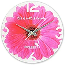 Hoopoe Decor Beautiful Pink Flower Trendy Designer Wall Clock