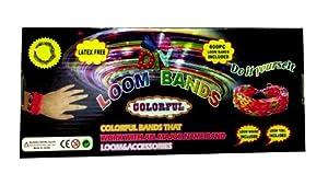 Pack Rainbow Loom - Kit de 600 Bracelet Elastique + Crochet Clip + Planche de Montage - Loisirs Créatifs (1 Lot)
