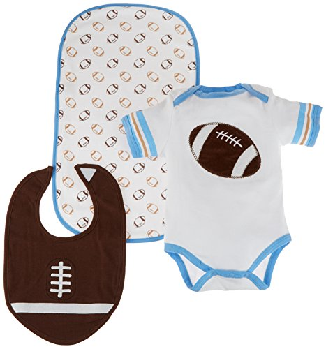 Baby Aspen, Tiny Touchdown 3 Piece Football Themed Layette Set, 0-6 Months