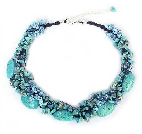 Turquoise Beaded Statement Necklace, 'Gush'