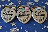 Happy Birthday Nanna Gift. Set of 3 Silver Mini Heart Tins Filled With Chocolate Dragees. Perfect Birthday Gift Present .Tin size 45mm x 45mm x20mm. (Nanna)