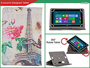 Jkobi Synthetic Leather Printed Design Tablet Book Flip Case Cover For Micromax Funbook Mini P365 (Universal) -Eiffel Tower With Rose
