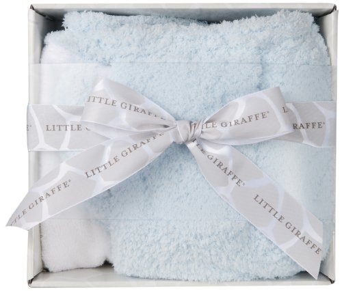 Little Giraffe Splash and Dry Blanket Gift Set, Blue