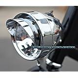 JBikes Dynamo Classic Retro Chrome Bicycle Headlight with Visor for Lowrider Beach Cruiser Comfort BMX Hybrid Bike