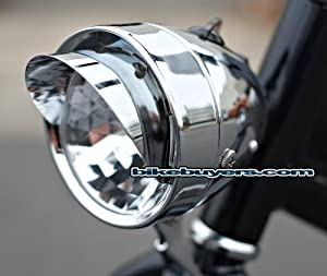Dynamo Classic Retro Chrome Bicycle Headlight with Visor for Lowrider Beach Cruiser... by Fito