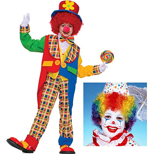 [Carnival Circus Clown Costume Bundle Set - Child Small Costume and Wig] (Bozo Clown Costumes)