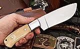 CFK Cutlery Company USA ST. HELENS DEER / ELK III Custom Handmade Natural Deer Bone D2 BIG GAME Skinning Hunting Knife with Leather Sheath & Fire-Starter Rod Set CFK130