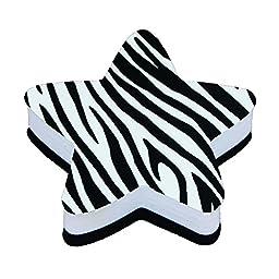 Ashley ASH10027BN Magnetic Whiteboard Eraser, Star Zebra, MultiPk 6 Each
