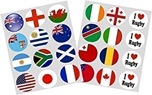 Rugby World Cup 2015 Flags Set of 24 ricepaper cupcake toppers 40mm pre-cut decoration from Simply Topps