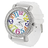 Geneva Womens Platnium Large Round Face Silicone Watch