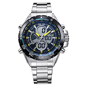 Mens Sport Watch LCD Dual Display Analog Digital MultiFunction Metal Band Quartz WH-115