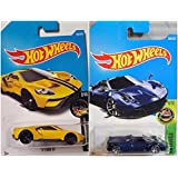 Hot Wheels '17 Ford GT Yellow 308/365 and '17 Pagani Huayra Roadster Blue 290/365 2 Car Set Bundle