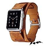 【日本正規代理店品】 ICARER 本革 ビンテージレザー Apple Watch バンド for Apple Watch 全4色 【SmartCase Anti-Dust Plug Caps 付属】 RIW111 38mm オレンジ