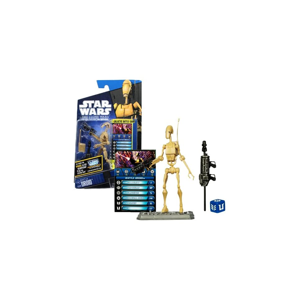 Hasbro Year 2010 Star Wars The Clone Wars Galactic Battle Game Series 4 Inch Tall Action Figure   CW19 BATTLE DROID with Radio Pack, Blaster, Missile Launcher with 1 Missile, Battle Game Card, Die and Figure Display Base