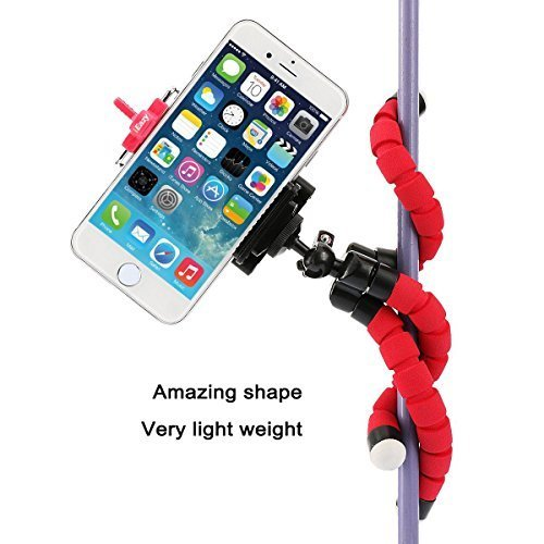 iEazy 3in1 Portable Octopus Style Adjustable Tripod Selfie Stick Stand and Holder with Bluetooth Wireless Remote Shutter for iphone 6 6s Plus /Samsung S6 and other Smartphones- Red