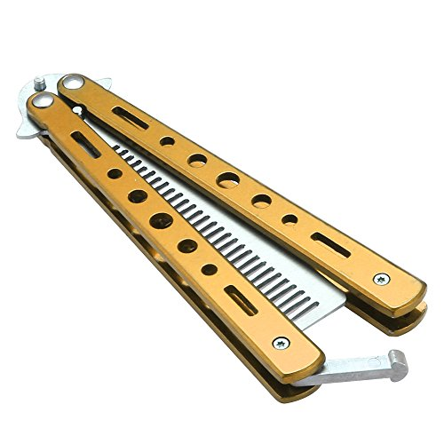 Smart Direct No Offensive Blade Butterfly Knife Training Balisong Practice Tool (Colorful Comb Gold)