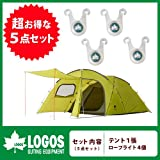 Logos[ロゴス] テント5点セット『ROSY[ロジー]ドゥーブルXL 71805022』&『ロープライト[4pcs] 74176001』R11AF009