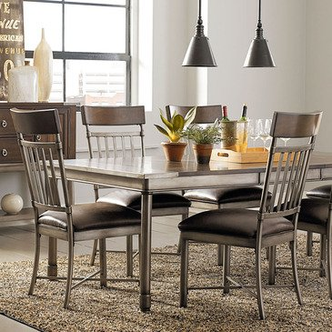 Standard Furniture Hudson 5 Piece Extension Dining Room Set in Rustic Dark Cherry
