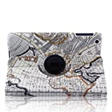 TOPCHANNCES White iPad Mini Stylish Map Pattern 360 Degrees Rotating Smart Cover PU Leather Case w/ Rotating Stand (Supports Auto Wake/Sleep Smart Cover Function)