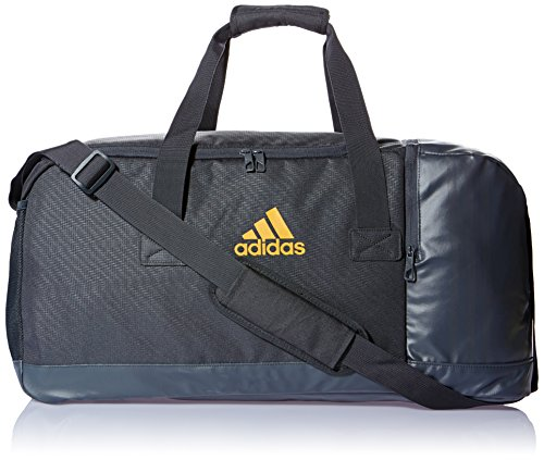 adidas Polyester 60 cms Dark Grey and Orange Travel Duffle (4056559166878)