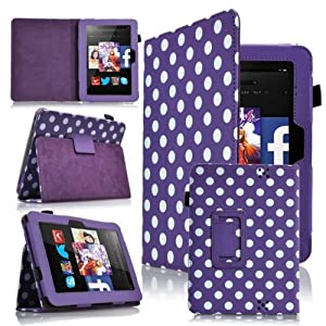 """GadgetinBox™ - Polka Dot Purple Executive Multi Function Standby Case for the Kindle Fire HD 7"""" Tablet (2012 Version) with Built-in Sleep / Wake Feature r + Screen Protector + Capacitive Stylus"""