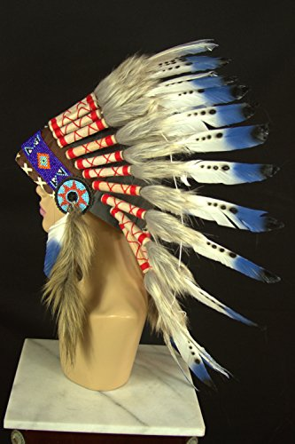 American Indian Inspired Headdress Warbonnet With Real Feathers (16 Styles To Choose) (Black Tip 3 Dot (Sh014))
