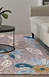 eCarpetGallery Handmade Impressions 5-Feet 0-Inch by 8-Feet 0-Inch Wool Rug, Dark Khaki Grey