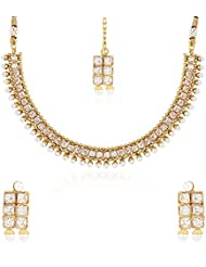 Zeneme Latest Traditional Pearl Temple Coin Necklace Set / Jewellery Set With Earrings For Women