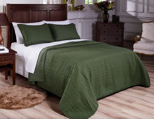 Chezmoi Collection 3-Piece Vintage Washed Solid Cotton Quilt and Shams Set, Full/Queen, Green (Green Quilt compare prices)