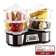 Klarstein Twin Peaks Slowcooker Food Steamer with 2 Cooking Areas (1500W, 4 Individual Chambers, 3 Litres) Stainless Steel