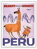 Peru - Braniff International Airways - Native Boy with Llama - Vintage World Travel Poster c.1950s - Master Art Print - 9in x 12in