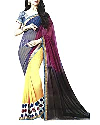 Yug Bansal Women's Multi-Coloured and Chiffon Saree
