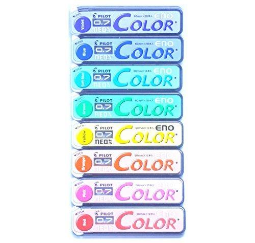 pilot-color-eno-neox-mechanical-pencil-lead-07-mm-8-color-set-japan-import-komainu-dou-original-pack